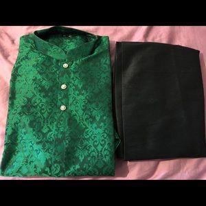 Indian Men Designer Green and Black Kurta Pajama